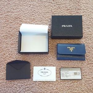 Authentic Prada Beautiful Blue Card & Key Holder